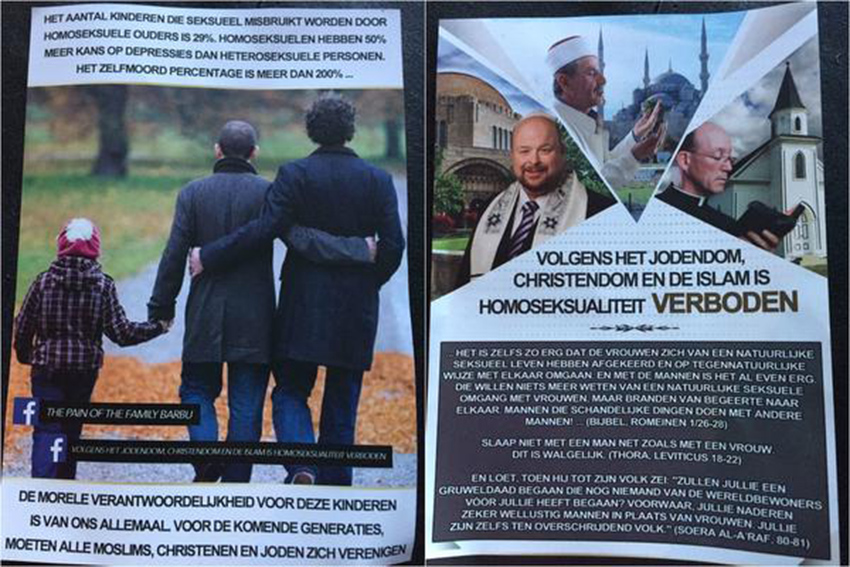 Group identified behind Dutch leaflets calling on all religions to exterminate gay people